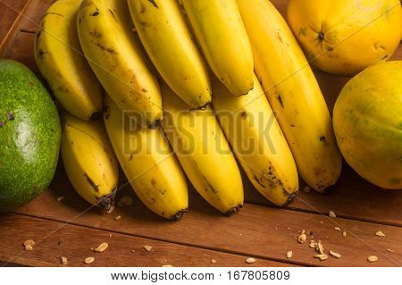Tropical Fruits. Banana, Avocado and Mamao Papaya