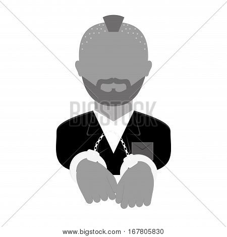grayscale arrested man with handcuffs icon, vector illustration