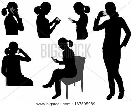 woman with cellphone silhouettes