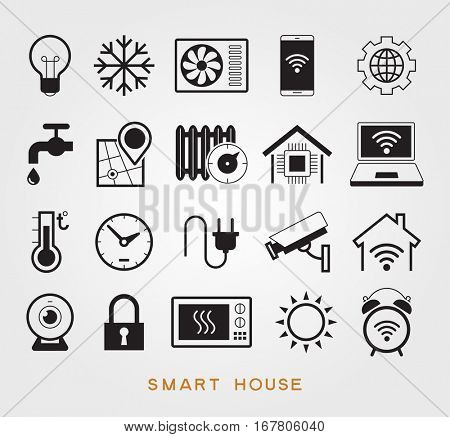 Set smart house symbols. Vector icons for home automation to control a smart home. The file is saved in the version AI10 EPS.