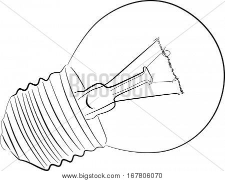 illustration with incandescent electric lamp sketch isolated on white background