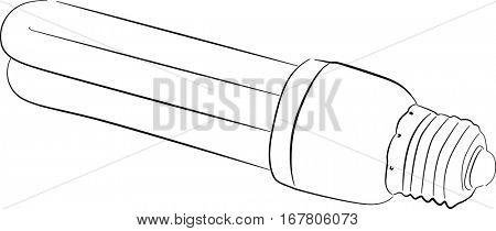 illustration with fluorescent electric lamp sketch isolated on white background
