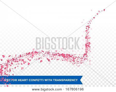 Pink hearts trace or vector wedding love comet trace confetti swirl trail transparent background.