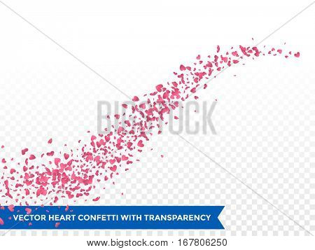 Pink Heart confetti glitter trail. Vector love comet on transparent background.