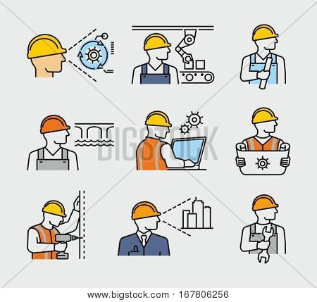 Construction Worker Civil Engineer and Architect Project Manager Vector