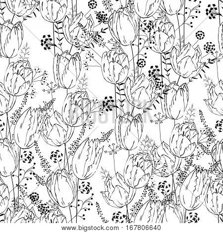 Seamless pretty pattern with stylized flowers and herbs. Black and white. Endless texture for your design, announcements, greeting cards, posters, advertisement.