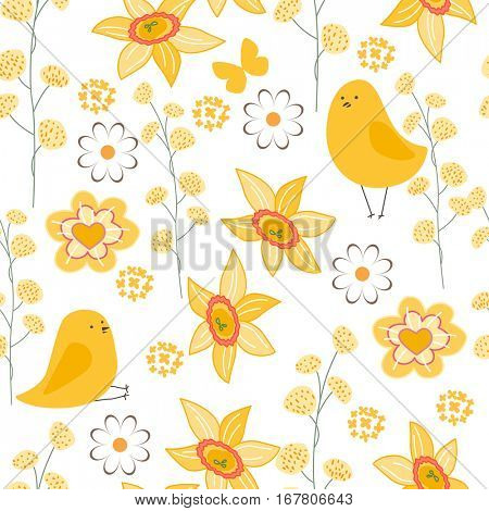 Seamless pattern with stylized cute yellow daffodils.  Endless texture for your design, greeting cards, announcements, posters.