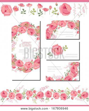Floral spring templates with cute pink roses. Endless horizontal pattern brush. For romantic design, announcements, greeting cards, advertisement.