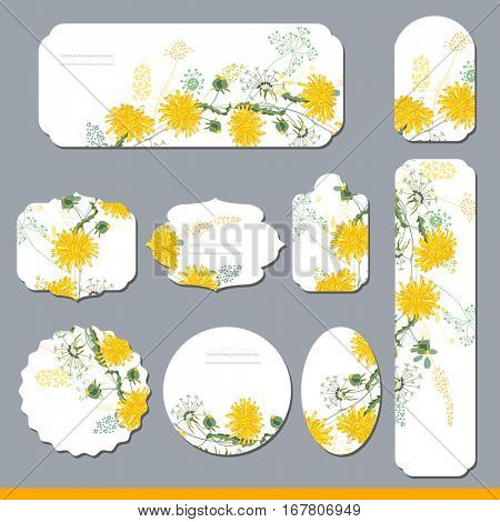 Floral spring templates with cute yellow dandelions. For romantic and summer design, announcements, greeting cards, posters, advertisement.