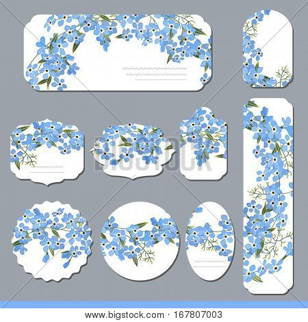 Floral spring templates with cute bunches of blue forget-me-nots. For romantic and easter design, announcements, greeting cards, posters, advertisement.