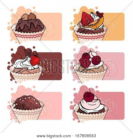 Set with different banners with sweet cupcakes. For restaurant and cafe advertisement. Brown, beige and red color