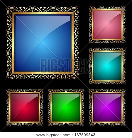 Glossy square frame in a golden rim. Vector Illustration for greeting card
