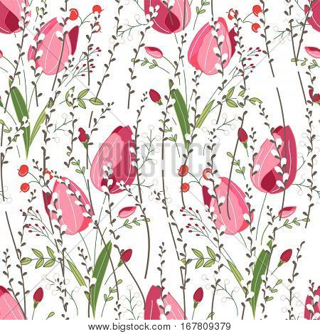 Seamless spring pattern with stylized cute pink flowers.  Endless texture for your design, greeting cards, announcements, posters.