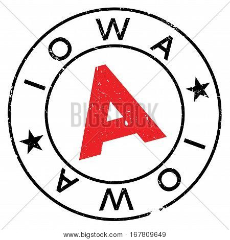 Iowa stamp. Grunge design with dust scratches. Effects can be easily removed for a clean, crisp look. Color is easily changed.