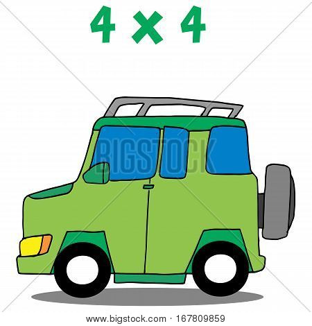 Transportation 4x4 cartoon vector art collection stock