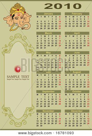 Ganesha Calendar 2010 with Copy space
