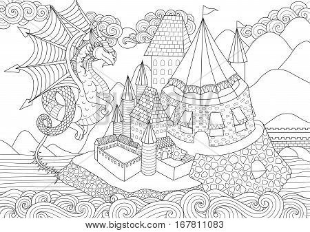 A Dragon flying above beautiful castel on island for adult coloring book page