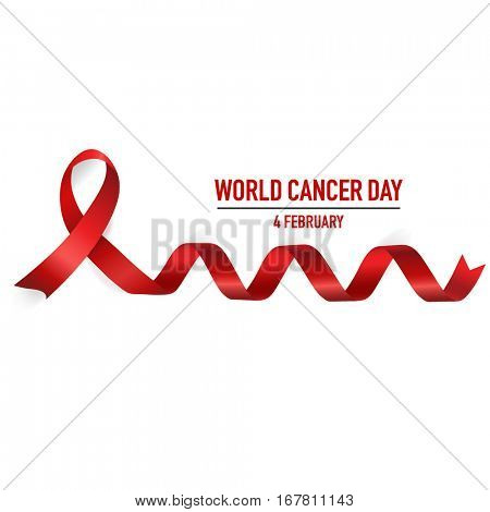 World cancer day. February 4. World cancer day design background with ribbon. Vector Illustration