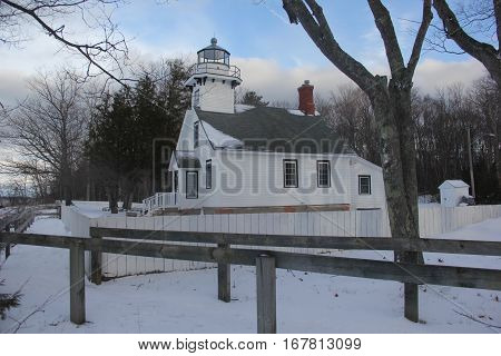 The Old Mission Lighthouse on the Old Mission Peninsula during winter