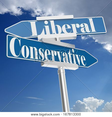 Conservative and liberal signs with 3D rendering