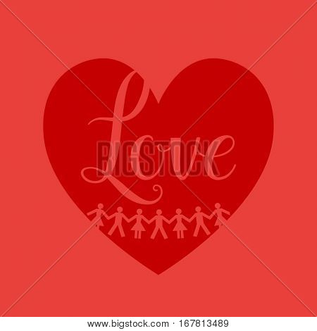 Man and woman sign on shape heart red background