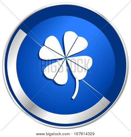Four-leaf clover silver metallic web and mobile phone vector icon in eps 10.