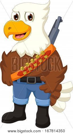 cute eagle cartoon posing with rifle for you design