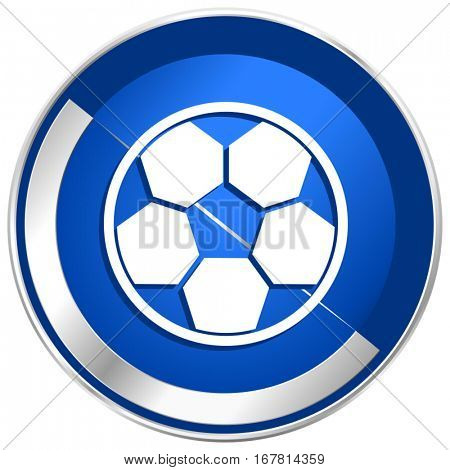 Soccer silver metallic web and mobile phone vector icon in eps 10.