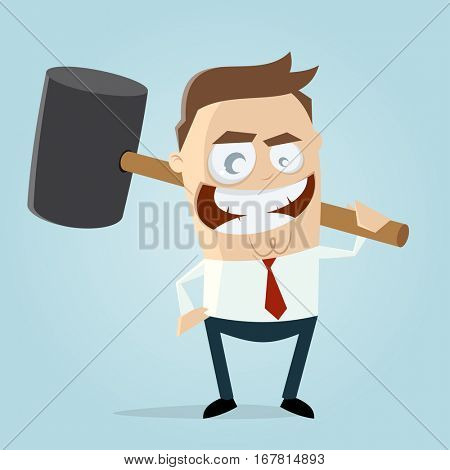 aggressive businessman with big hammer clipart