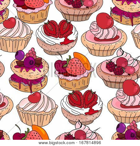 Seamless pattern with sweet desserts. Pastry,cupcakes, fruits, berries and cream. Endless pattern, white background. Red, pink and brown color.