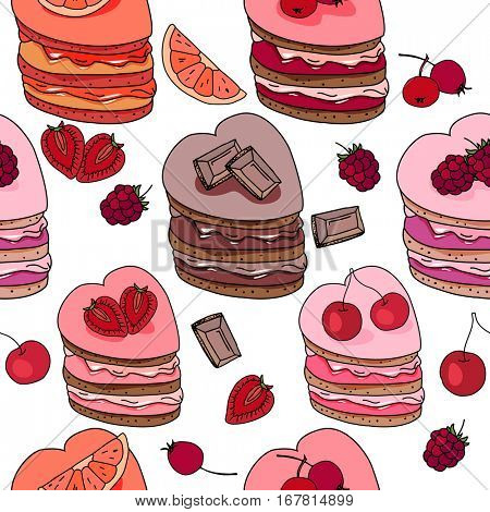 Seamless pattern with sweet desserts. Pastry,heart  shape, fruits, berries and chocolate. Endless pattern, white background. Red, pink and brown color.