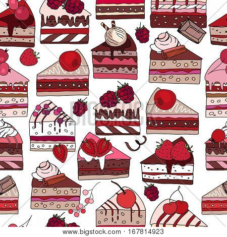 Seamless pattern with sweet desserts. Pastry,slices of cake, berries,chocolate and cream. Endless pattern, white background. Red, pink and brown color.