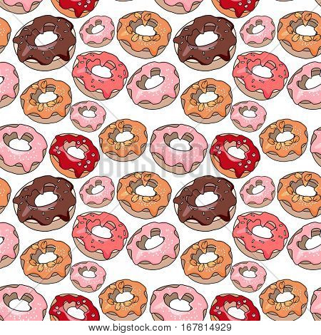 Seamless pattern with sweet desserts. Pastry,donuts. Red, pink and brown color. Endless pattern, white background