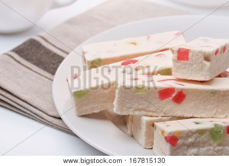 Still life with fruit nougat bars