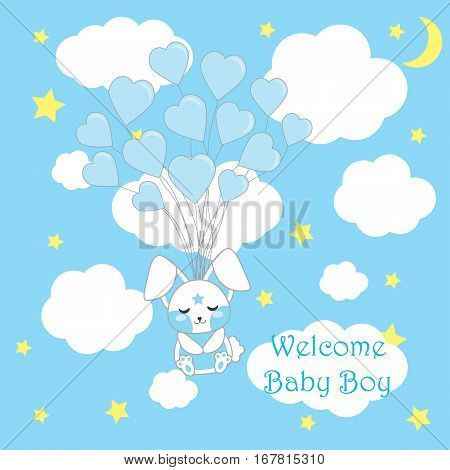 Baby shower card with cute boy rabbit with blue balloons suitable for boy baby shower postcard, greeting card, and invitation card