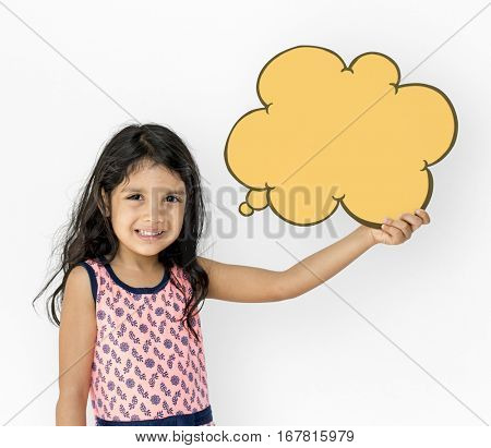 Little Girl Holding Chat Box Smiling Adorable