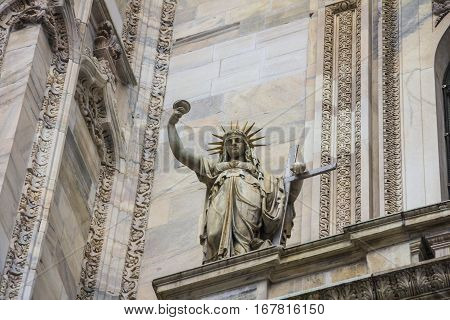 Italy, statue on the Milan Duomo facade, representing the New Law carved by Camillo Pacetti in 1810 inspired Frederic Auguste Bartholdi for the construction of the Statue Of Liberty in NYC
