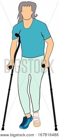 Old Man with injured foot using mobility aid standing walking basing on forearm crutches conceptual togetherness healthcare image support elderly people concept vector