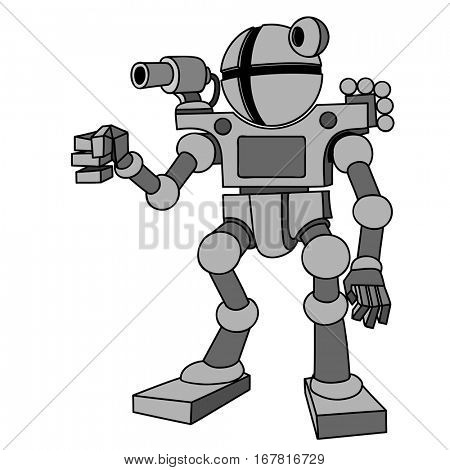 Vector image of robot with two arms and two legs.Future, technology, modern. Vector humanoid robot.
