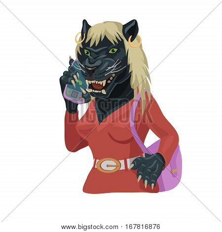 Panther talking on a cell phone, make screensaver on the phone who is calling you and laugh at your secret