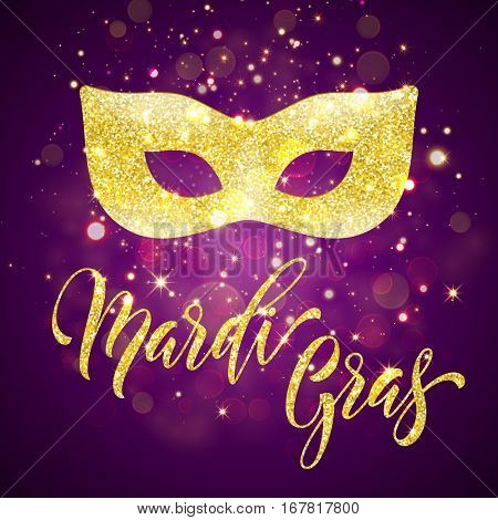 Gold glitter carnival mask for Mardi Gras Shrove Tuesday festival.