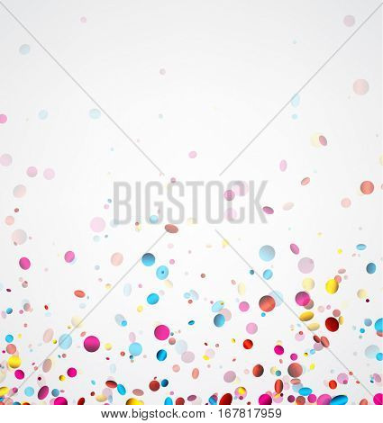 Festive white banner with colorful glossy confetti. Vector illustration.