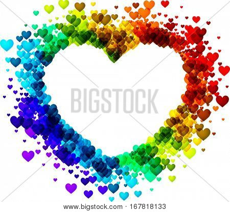 Love valentine's background with rainbow heart. Vector illustration.