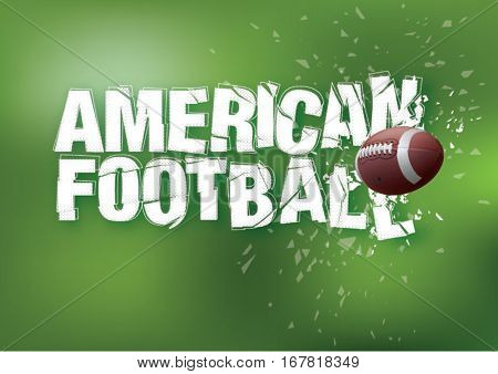 American football. Lettering with crash effect