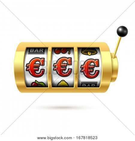 Euro jackpot on slot machine. Vector illustration.