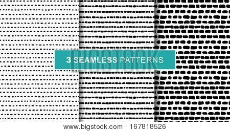 Set of tree abstract hand draw seamless patterns. Black stripes on white background. eps10