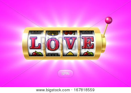 Love word on gold slot machine, one-armed bandit, vector illustration.