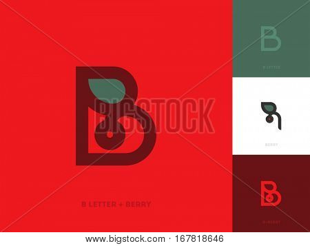 Elegant line style logo template with letter b and red berry with leaf