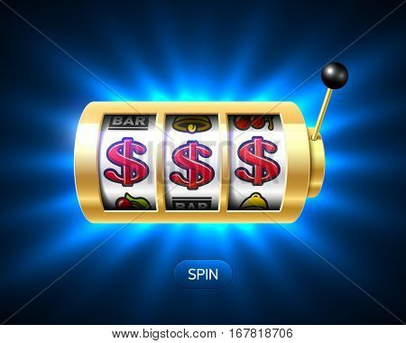 Dollar signs jackpot on slot machine vector illustration