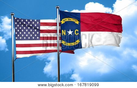 north carolina with united states flag, 3D rending, combined fla